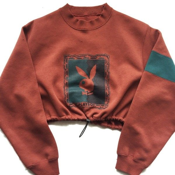 Reworked Playboy Crop Sweatshirt ($45) ❤ liked on Polyvore featuring tops, hoodies, sweatshirts, cropped sweatshirt, red crop top, cropped tops, red top and red sweatshirt