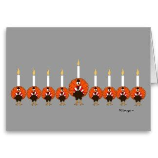 Menorah Turkeys Happy Thanksgivukkah Greeting Card