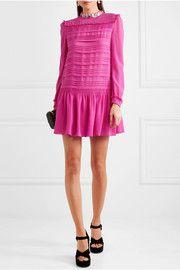 Embellished silk-chiffon mini dress