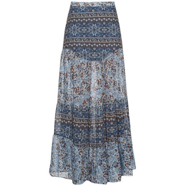 See By Chloé Floral-print maxi skirt (8.557.525 VND) ❤ liked on Polyvore featuring skirts, bottoms, saias, light blue, floral maxi skirts, long floral skirts, blue maxi skirt, long bohemian skirt and long skirts