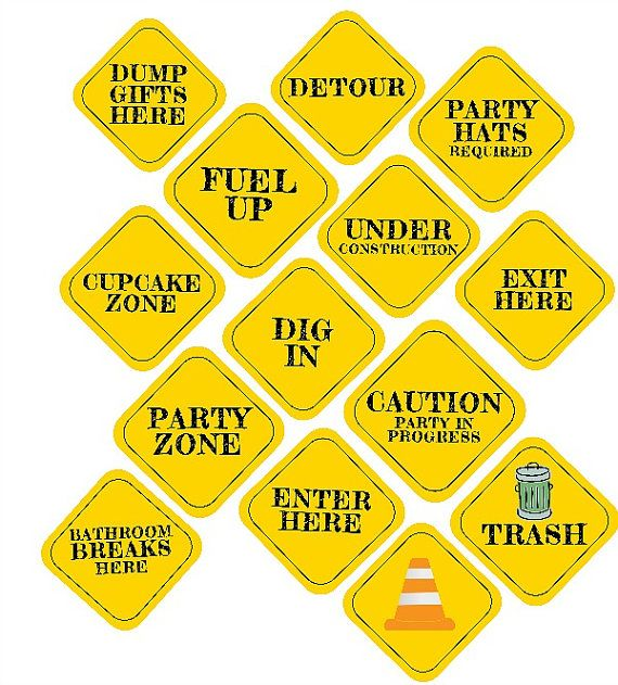 INSTANT 8x8 CONSTRUCTION Party Decor Signs by TwoLaughingLambs, $5.00