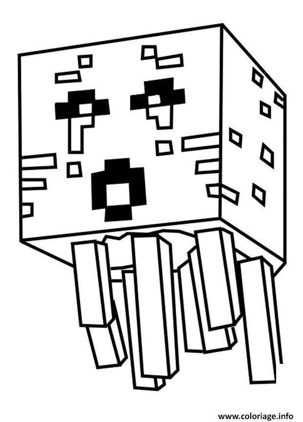 Coloriage Minecraft Ghast Dessin à Imprimer Kocka Minecraft