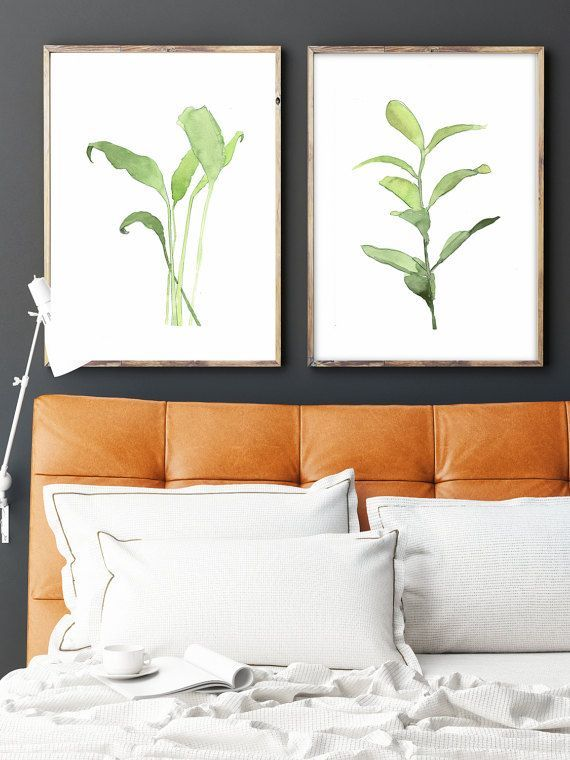 Set of 2 Green Plants art Watercolor green art Herb print by LadyWatercolor | Etsy #watercolor #art #picture #green #herb #print #leaves #botanical #set #plant #paint
