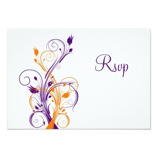 Purple Orange White Floral Wedding Reply Card