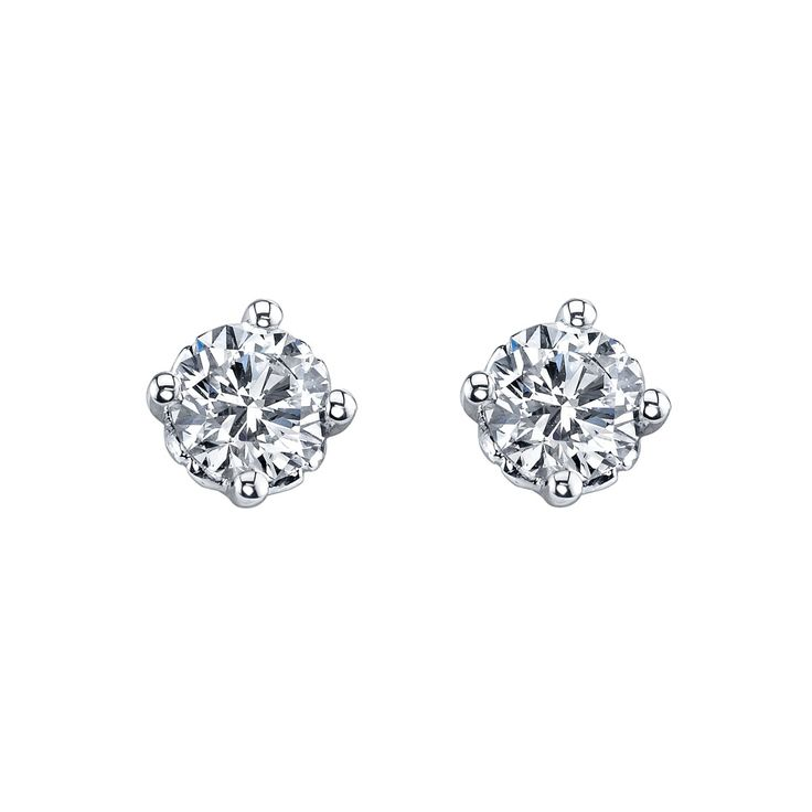 14kt diamond stud earrings available in yellow or white gold.