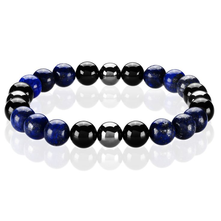 West Coast Jewelry Crucible Men's Lapis Lazuli, Onyx and Hematite Healing Stone Bead Stretch Bracelet - 8.5 inches