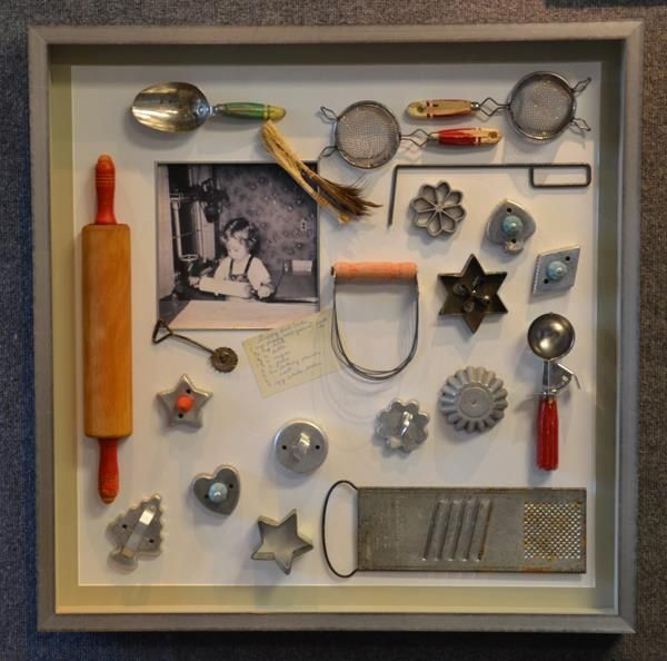 I have some old things that would work in a shadow box....Great idea for the kitchen!
