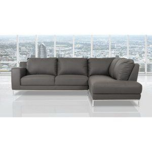 Gray, Faux Leather & Leather Sectional Sofas on Hayneedle - Gray, Faux Leather & Leather Sectional Sofas For Sale