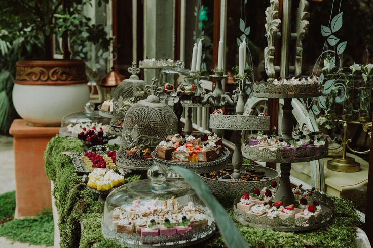 Enchanted Castle Candy & Fruit Corner/Bar - Satori Art & Event Design Vintage iron, moss, candle holders, outdoor, antique, old, woodland, wedding, events, design, decor, inspiration, details
