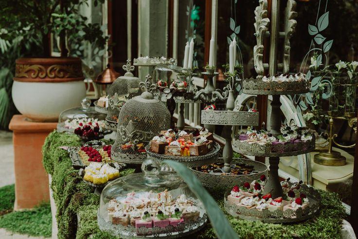 Enchanted Castle Candy & Fruit Corner/Bar - Satori Art & Event Design Vintage iron, moss, candle holders, outdoor, antique, old, woodland, wedding, events, design, decor, inspiration, details