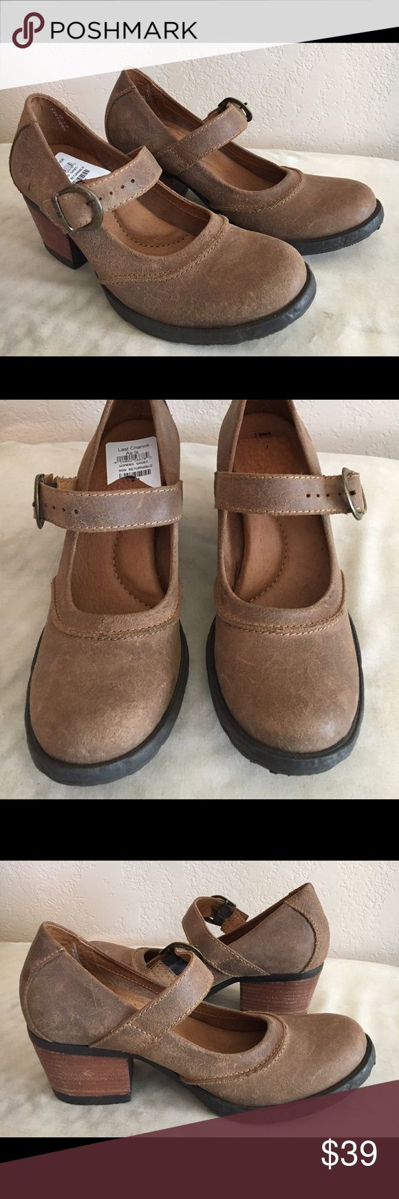 Born NWT from Nordstrom outlet. Never worn. Fun and comfortable Born leather shoes with buckle detail and stacked heel. Born Shoes Mules & Clogs