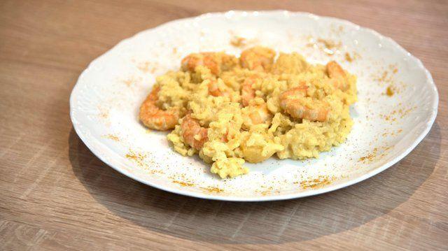 """- Plat / Crustacés - Catheline de Limoges vous propose sa recette """"Risotto aux crevettes, curry et lait de coco""""."""