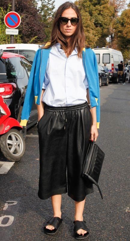 大人はレザー!素敵な40代の着こなし術♡アラフォー キュロットおすすめコーデ参考です。