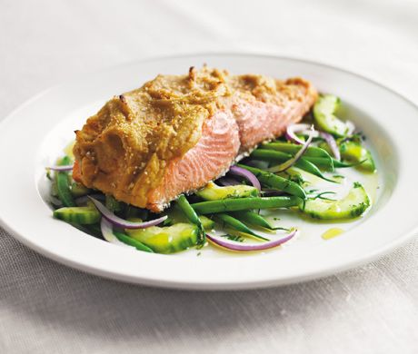 Hummus-Crusted Alaskan Wild King Salmon Over a Bed of French Beans, Red Onion, and Cucumber Salad with Lemon Oil Recipe  | Epicuri...