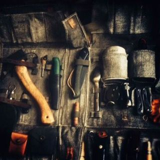 Canvas folding tool bag for  bushcraft tools