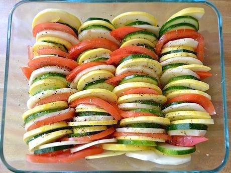 Zapiekanka z cukinią, ziemniakami i pomidorami