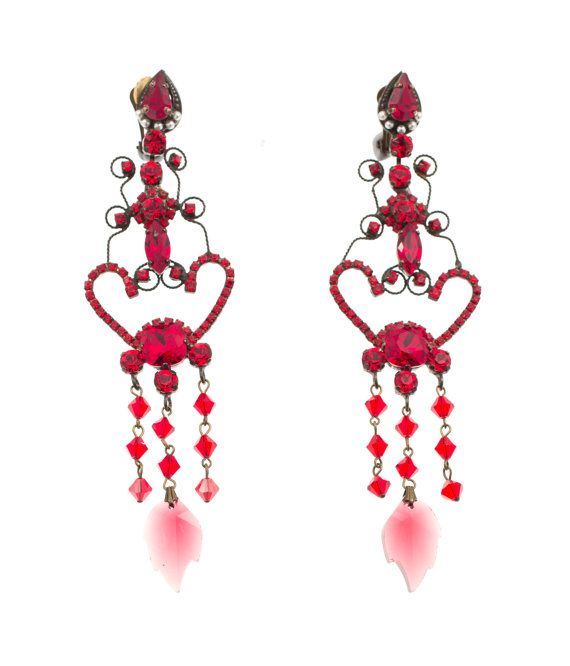 Chandelier earrings with red Swarovski stones, by Art Wear Dimitriadis