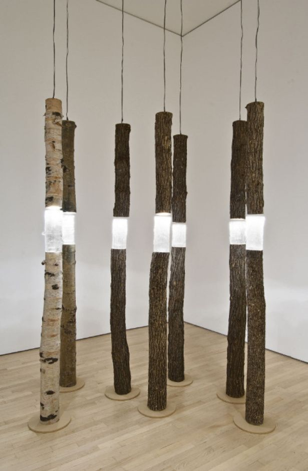 Ione Thorkelsson  'Arboreal fragments'  (2004)  -  cast glass, found wood, lights   National Gallery of Canada.