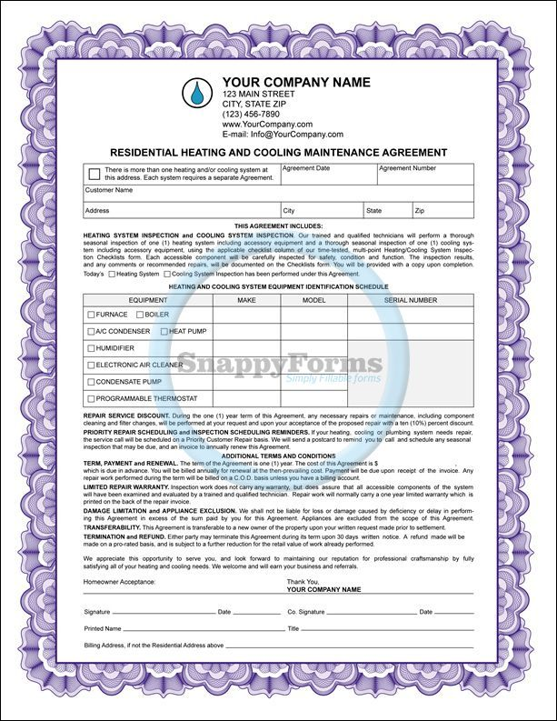A Heating And Cooling Maintenance Agreement With Additional Form