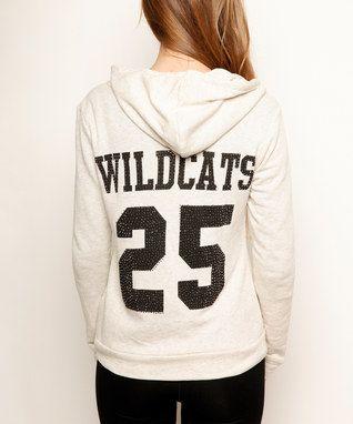 Cream 'Wildcats 25' Zip-Up Hoodie