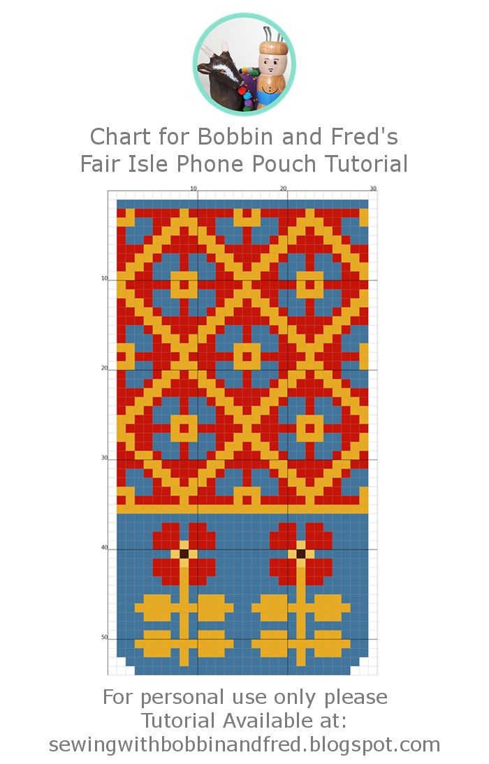 Chart for Fair Isle Phone Pouch. DIY Plastic Canvas Project by Bobbin and Fred