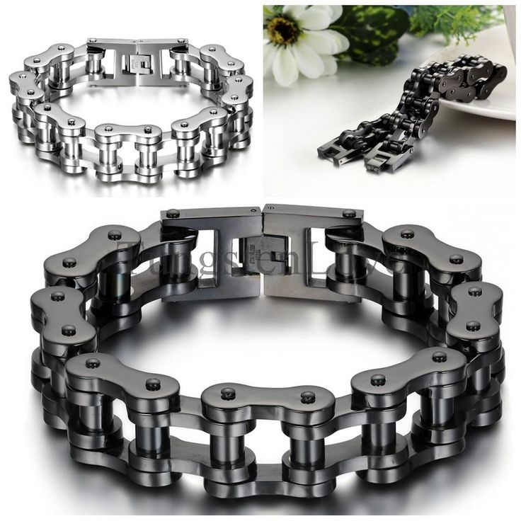 23cm*18mm Heavy Wide Stainless Steel Bracelet Men Biker Bicycle Motorcycle Chain Men's Bracelets Mens Bracelets & Bangles