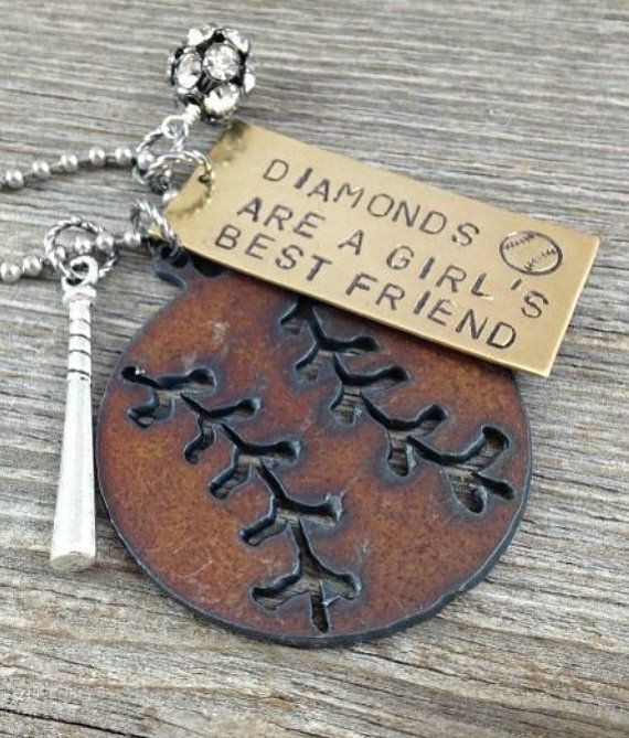 Diamonds are a Girls Best Friend Baseball or Softball Necklace ~ Rustic Hand Stamped Sports Jewelry with Bat Charm
