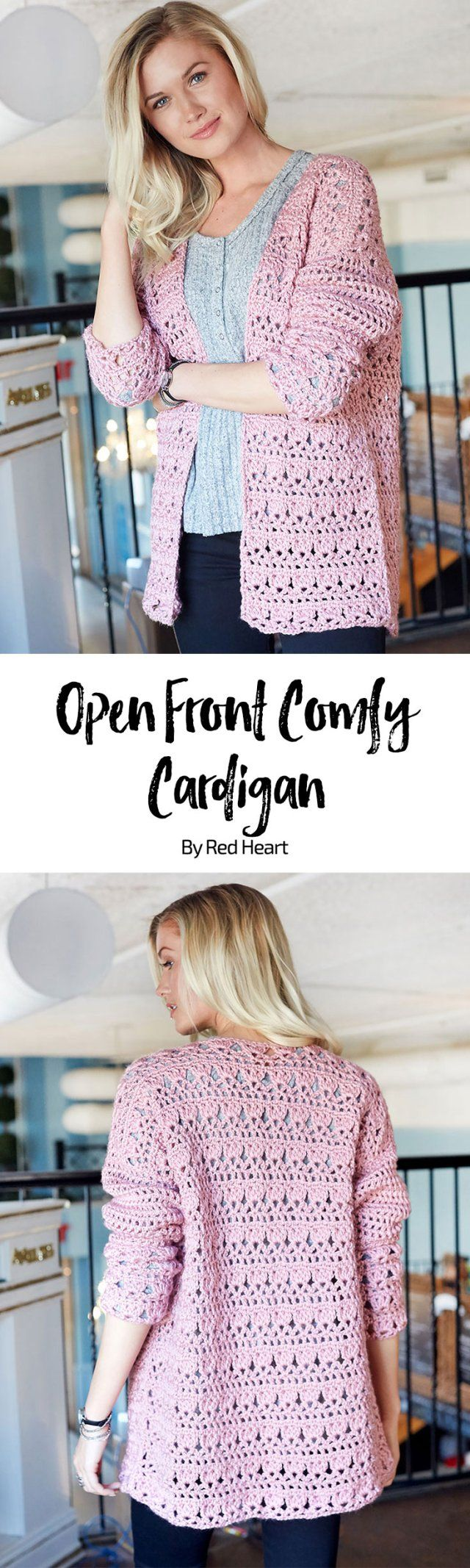 Open Front Comfy Cardigan free crochet pattern in Soft yarn.