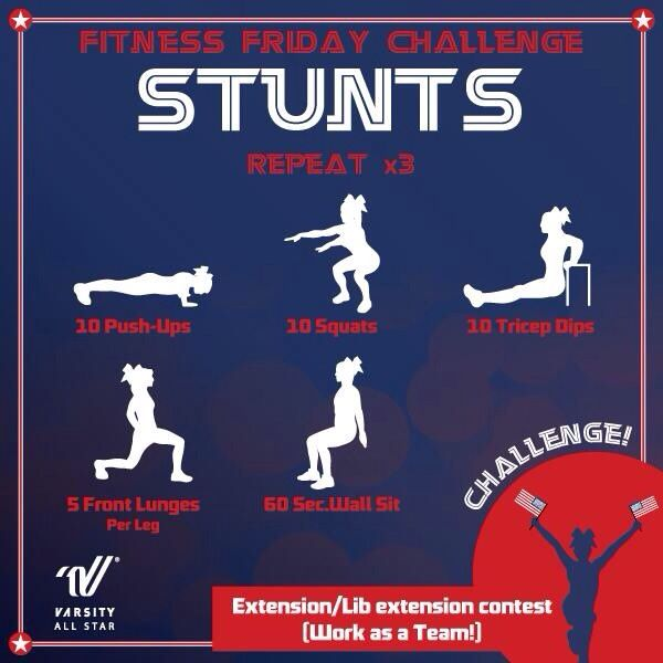 Put your skills to the test with Varsity's Friday Fitness Challenge! We all know cheerleaders don't have an off season so we are dedicating one day a week during the month of July to get your body moving  shake off that summer slowdown! Each circuit complete with a cheerleading challenge. Have fun! #thingsweloveatspiritaccessories #cheer #coachingskills