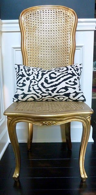 Spray paint my desk chair gold to go with the coral desk.  Mine has a cane back like this but a fabric seat.  Just need to find the perfect fabric.