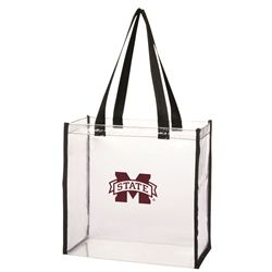 Mississippi State University Clear Stadium Tote. Clearly a huge fan! This see-thru totes allows you to breeze into the stadium and show your spirit all at the same time. Official NFL approved size of 12 x 12 x 6, stadium approved. #gamedayready #stadiumapproved #cleartote #shopdesden