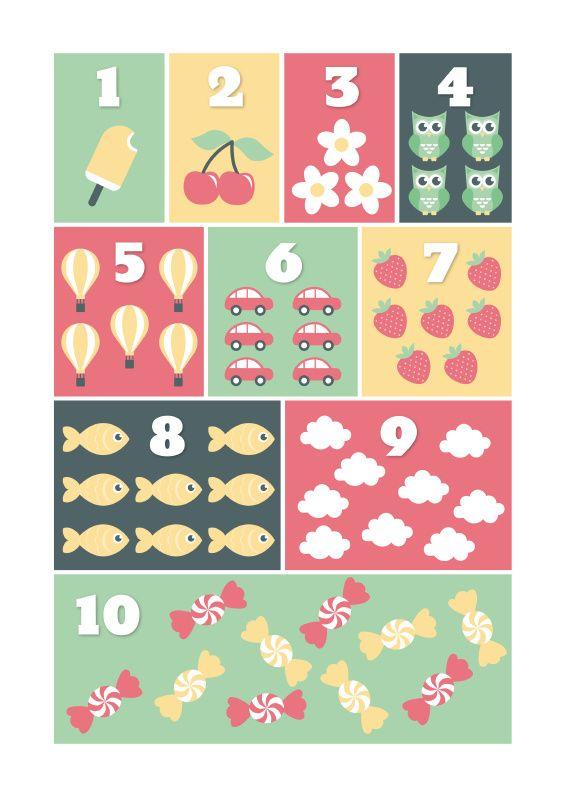 Poster A3 tellen pastel. Leer de kleintjes op een speelse manier tellen van 1 tot 10. Ontzettend leuk om te combineren met de ABCposter. Afmeting A3, 250 grams papier met matte afwerking. Verzonden als pakketpost. kinderkamer babykamer speelkamer educatief speegoed