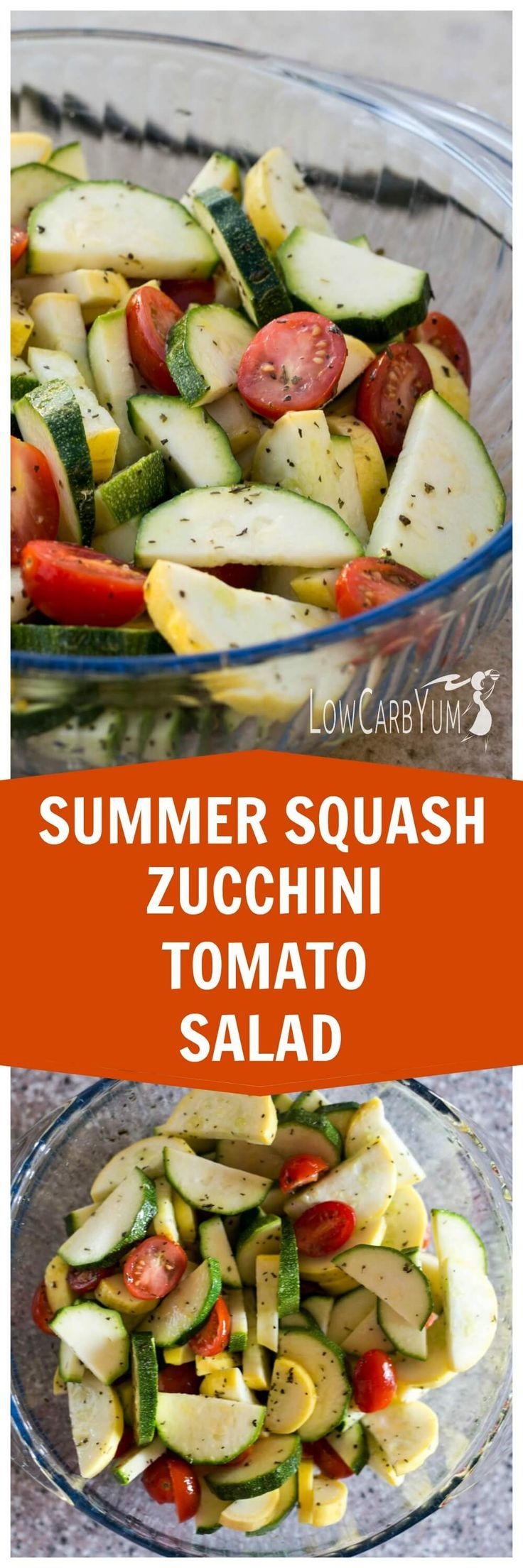 A stevia sweetened dressing coats vegetables in this simple squash zucchini tomato salad. This is a great potluck dish to show off your summer garden crop. http://LowCarbYum.com