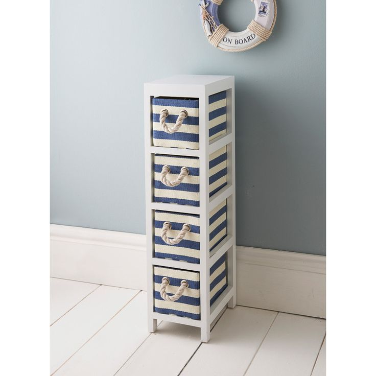£19.99 - White chest with hearts and blue and white marine colour drawers - W17 X D24 X H67cm