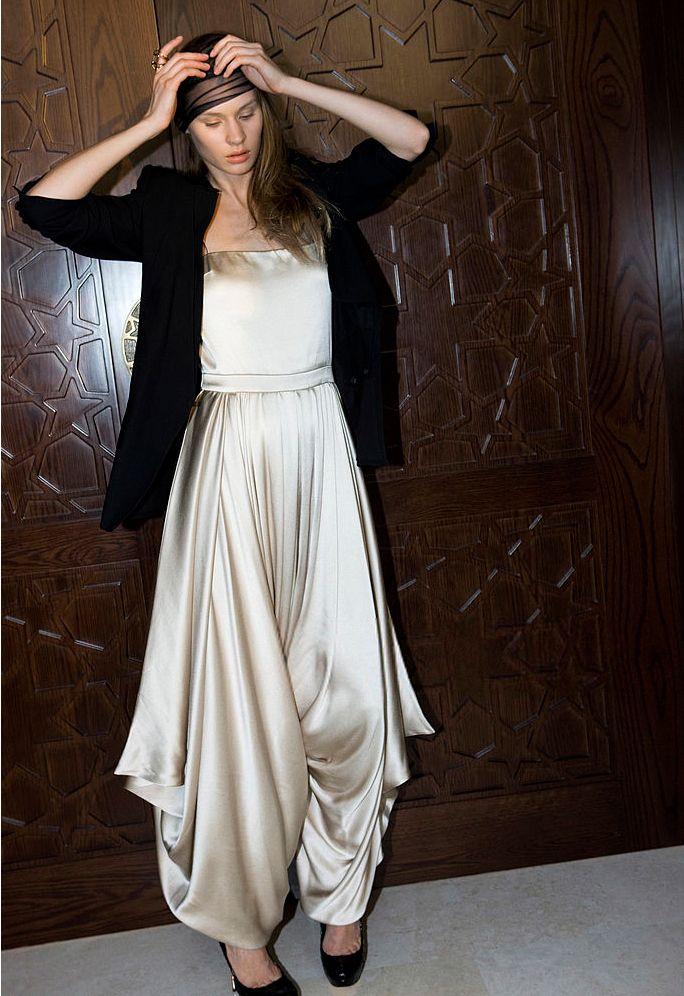 Silk satin harem jumpsuit. Dior