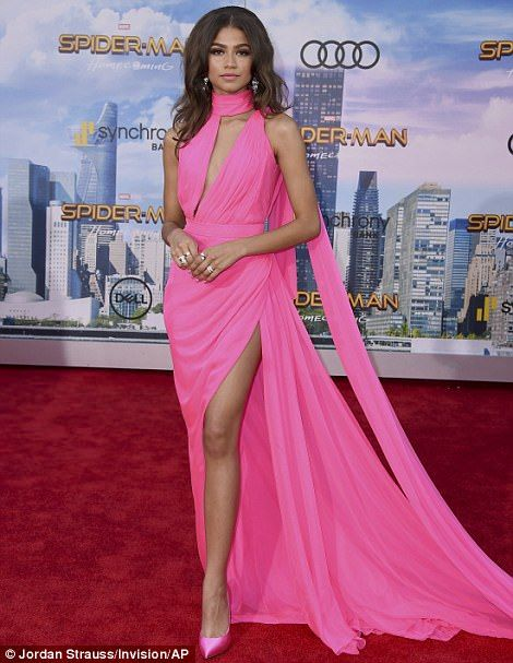 Spider Gal! Zendaya dazzled in a hot pink gown at the Hollywood premiere of Spider-Man: Homecoming Wednesday
