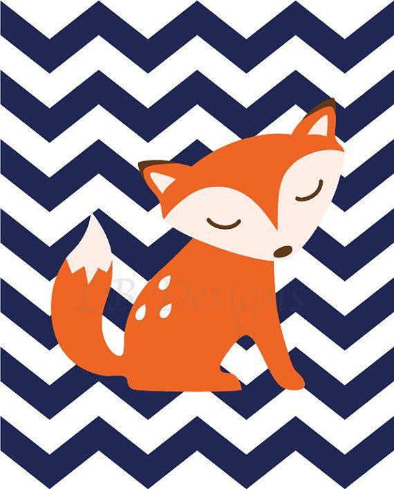 Orange and Navy Blue Chevron Fox Woodland Nursery by LJBrodock, $10.00