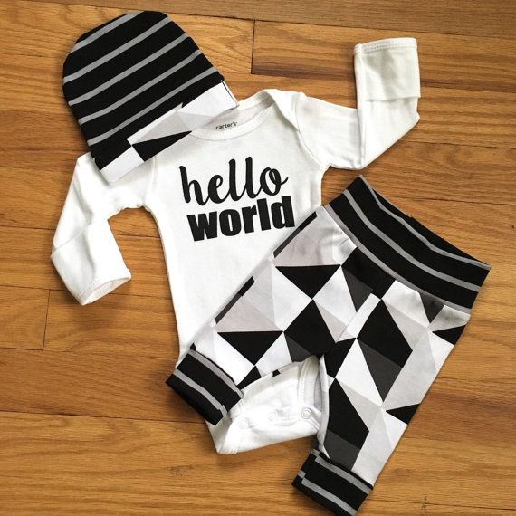 Baby boy coming home outfit - Hello World black and gray triangle theme - going home set hello world, baby shower gift, coming home outfi