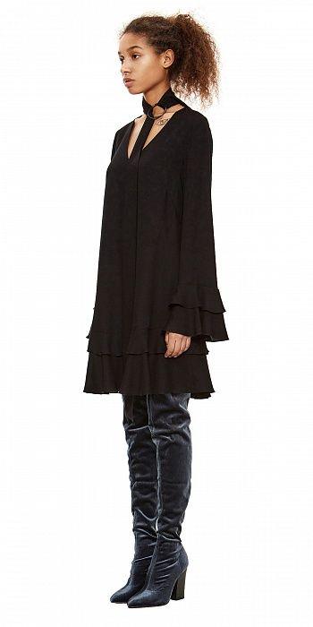 Платье мини с воланами