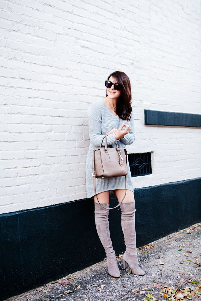 sweater dress with velvet boots