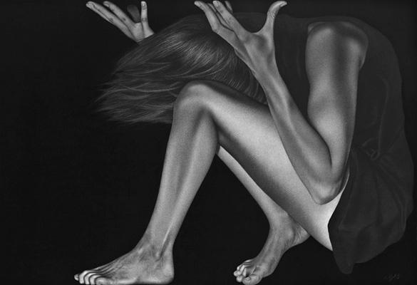 Kim Buck. Works on charcoal.