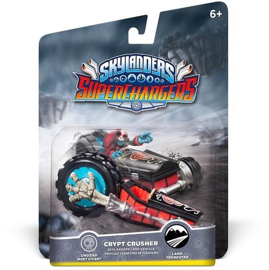 """#Skylanders #SuperChargers - #CryptCrusher Abbinamento pilota Supercarica: #Fiesta Il Crypt Crusher è il campione imbattuto delle corse di dragster dell'aldilà. Costruito a partire dal lettino a forma di auto sportiva che Fiesta usava da bambino, è ora equipaggiato con una minacciosa """"Ruota del Fato"""" per travolgere gli avversari!"""""""