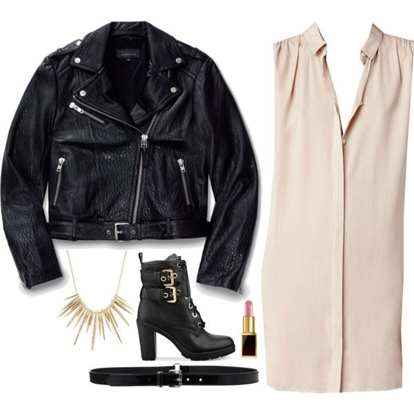 A fashion look from January 2016 featuring AllSaints dresses, Mackage jackets and GUESS ankle booties. Browse and shop related looks.