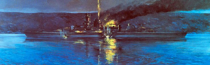 """""""Blücher"""" being attacked by Oscarsborg canons 9. April 1940. Painting by Reidar Finsrud."""