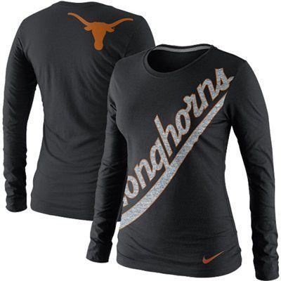 Nike Texas Longhorns Women's Angled Script Long Sleeve T-Shirt - Black (Large)