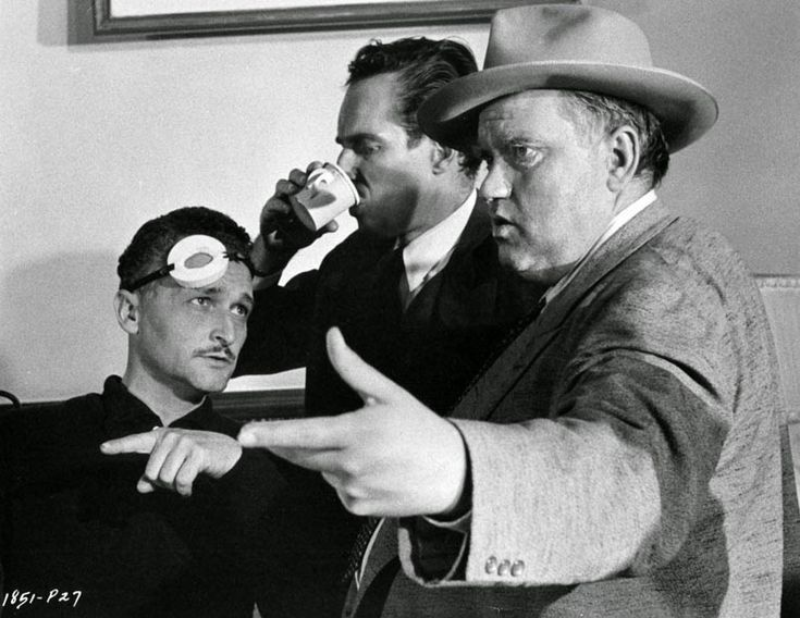 Heston with camera operator Philip Lathrop (later DP of many Blake Edwards films) and director/co-star, Orson Welles on the set of TOUCH OF EVIL   1958