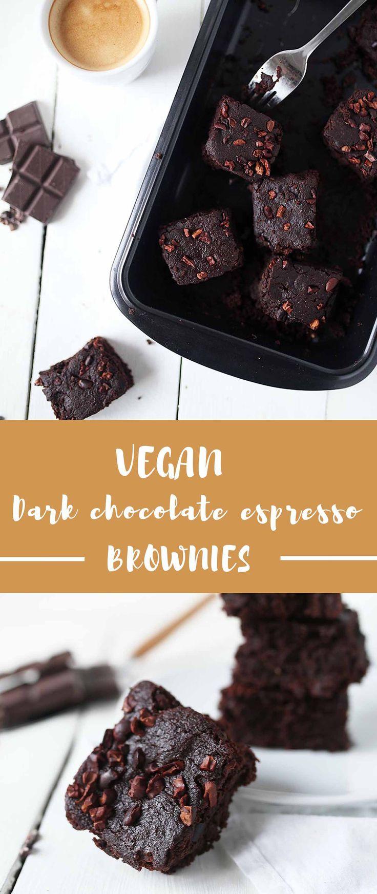 One bowl vegan dark chocolate espresso brownies