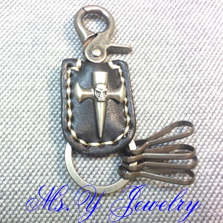 Рождественские украшения подарок мс. Y готический череп крест ручной работы античная бронзовая Leahter брелок для ключей от машины сеть YSK1408HYG08