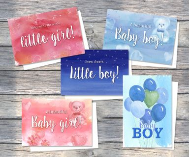 ALL FOR BABY! A Greeting card pack of five cards featuring soft watercolour wash illustration just for the new bub!