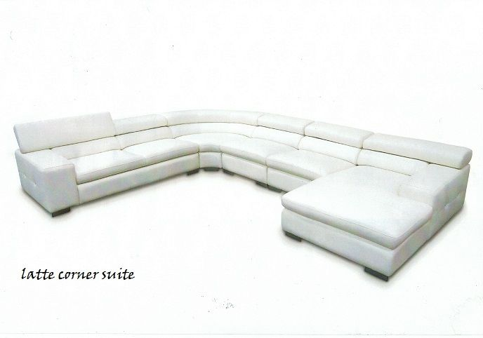 Latte Sofa suite, available in black white and cream with or without diamontes! www.thebedshop.com.au #cornercouch #whitesofas #thebedshopballarat #stylishsofas